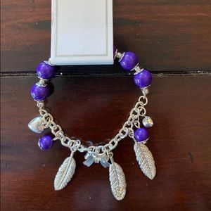 Justice Purple Feather Bracelet